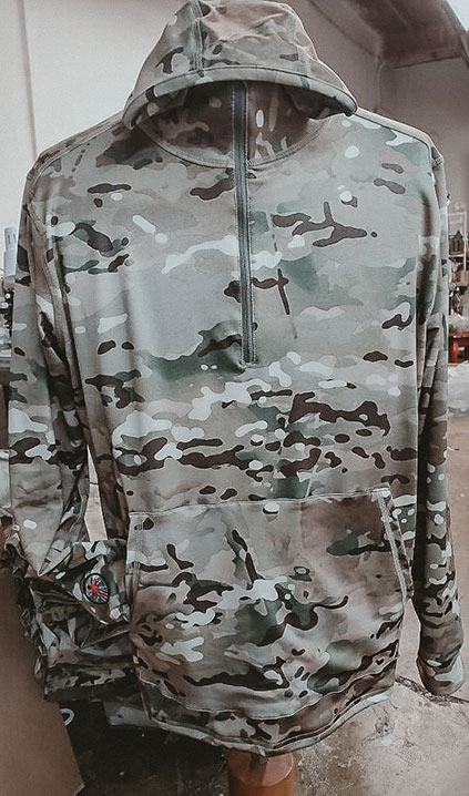 multicam hoodie using XGO multicam fleece